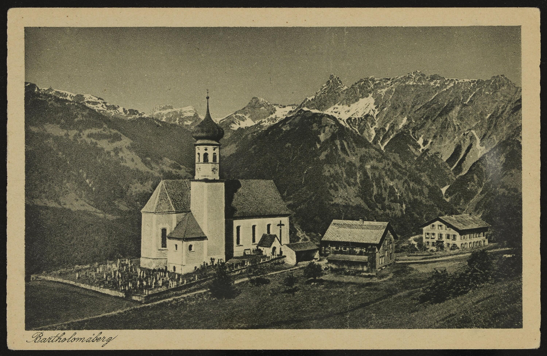 Bartholomäberg / Aufnahme von J. Fritz jr. von Fritz, Josef
