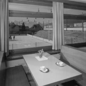 Feldkirch - Tosters / Blick vom Restaurant auf die Kunsteisbahn von Risch-Lau