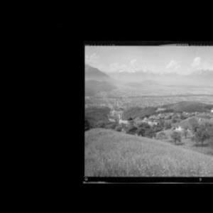 Viktorsberg gegen Balfrieser Berge und Alpsteingruppe von Risch-Lau