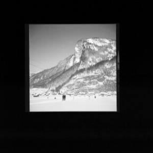 Skilift bei Au im Bregenzerwald mit Mittagsfluh von Risch-Lau