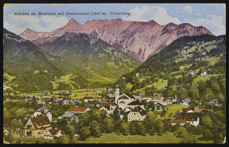 Schruns im Montafon mit Zimbaspitze (2645 m), Vorarlberg von Kunst- und Verlagsanstalt,