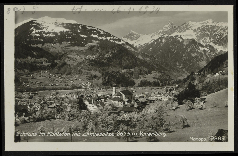 Schruns im Montafon mit Zimbaspitze 2645 m Vorarlberg von X. Monopol Kunst- u. Verlagsanstalt, Schöllhorn A. G.
