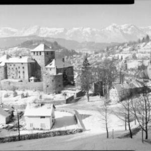 Feldkirch - Schattenburg gegen Alpsteingruppe von Risch-Lau