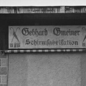 Geschäftstafel: Gebhard Gemeiner, Schirmfabrikation / Rudolf Zündel von Zündel, Rudolf