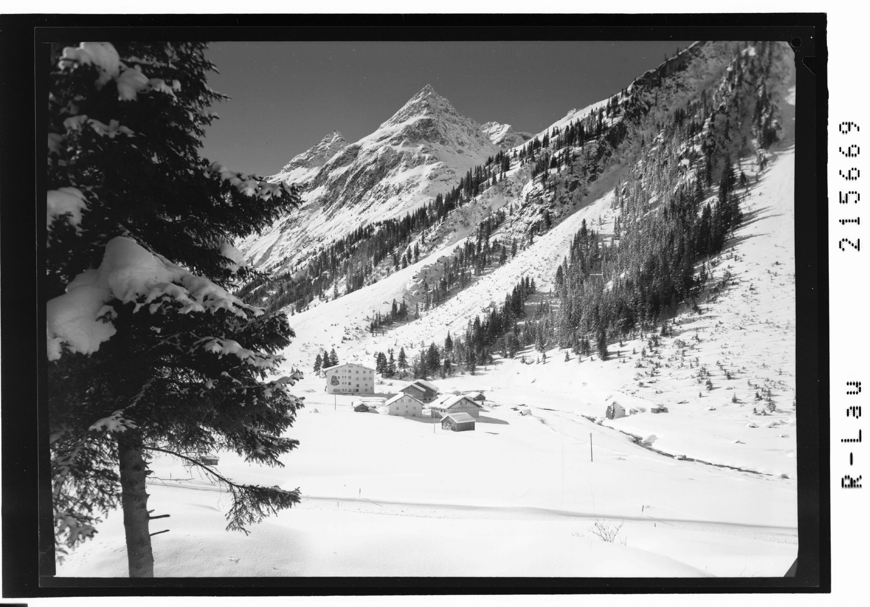 Weisswald 1575 m gegen Brandkogel 2677 m und Steinkogel 2635 m, Pitztal / Tirol von Risch-Lau