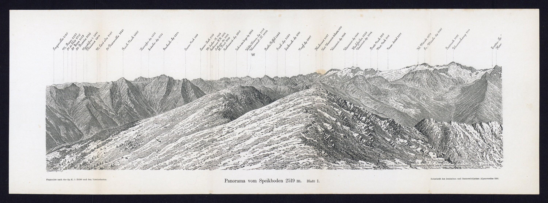 Panorama vom Speikboden 2519 m / Aufnahme, Bestimmung und Zeichnung von Julius Ritter von Siegl von Siegl, Julius