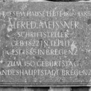 Bregenz Oberstadt, Gedenktafel Alfred Meissner / Rudolf Zündel von Zündel, Rudolf