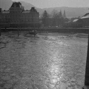 Bregenz vom See aus, Postamt und Zug / Rudolf Zündel von Zündel, Rudolf
