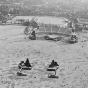Bregenzer Seebühne während der Seegfrörne / Oskar Spang von Spang, Oskar
