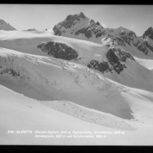 Silvretta / Silvretta Egghorn 3147 m, Egghornlücke, Silvrettahorn 3244 m, Schneeglocke 3223 m und Schattenspitze 3202 m von Rhomberg
