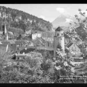 Feldkirch / Vorarlberg / Katzenturm und Schattenburg von Risch-Lau