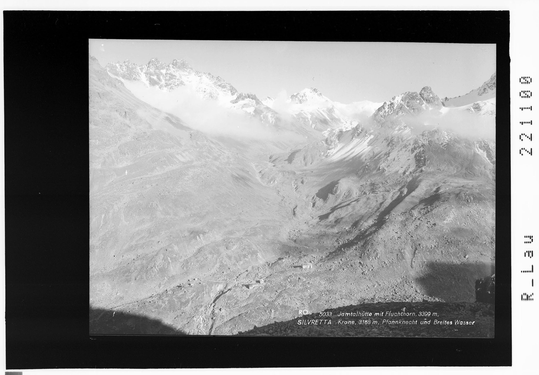 Jamtalhütte mit Fluchthorn 3399 m / Silvretta / Krone 3188 m - Pfannknecht und Breites Wasser von Rhomberg
