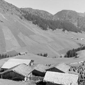 Warth, Huberalpe mit Huberställen / Franz Beer von Beer, Franz