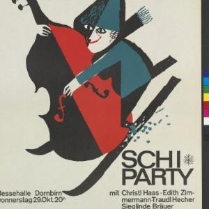 Ankündigungsplakat für Schi-Party in der Messehalle Dornbirn / Rudolf Tronje Hagen, Vorarlberger Graphik ; Sportdynamik Bregenz von Vorarlberger Buchdruckerei-Gesellschaft