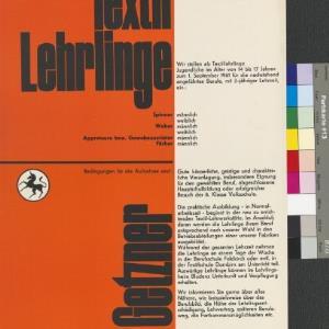 Plakat 'Textil-Lehrlinge' der Firma Getzner 1961 / Josef Hanser von [Hersteller nicht ermittelbar]
