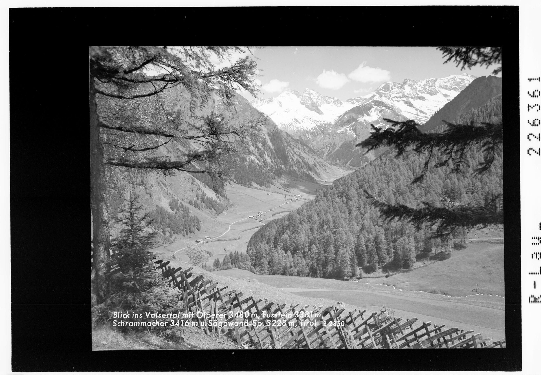 Blick ins Valsertal mit Olperer 3480 m - Fußstein 3381 m - Schrammacher 3416 m und Sägewandspitze 3228 m / Tirol von Wilhelm Stempfle