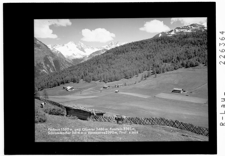 Padaun 1580 m gegen Olperer 3480 m - Fußstein 3381 m - Schrammacher 3416 m und Vennspitze 2390 m / Tirol von Wilhelm Stempfle