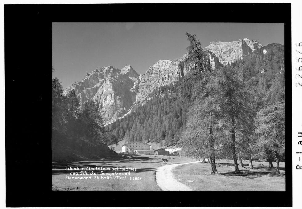 Schlicker Alm 1616 m bei Fulpmes gegen Schlicker Seespitze und Riepenwand / Stubaital / Tirol