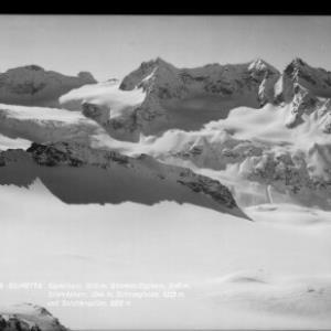 Silvretta / Signalhorn 3210 m, Selvretta Egghorn 3147 m, Silvrettahorn 3244 m, Schneeglocke 3223 m und Schattenspitze 3202 m von Rhomberg