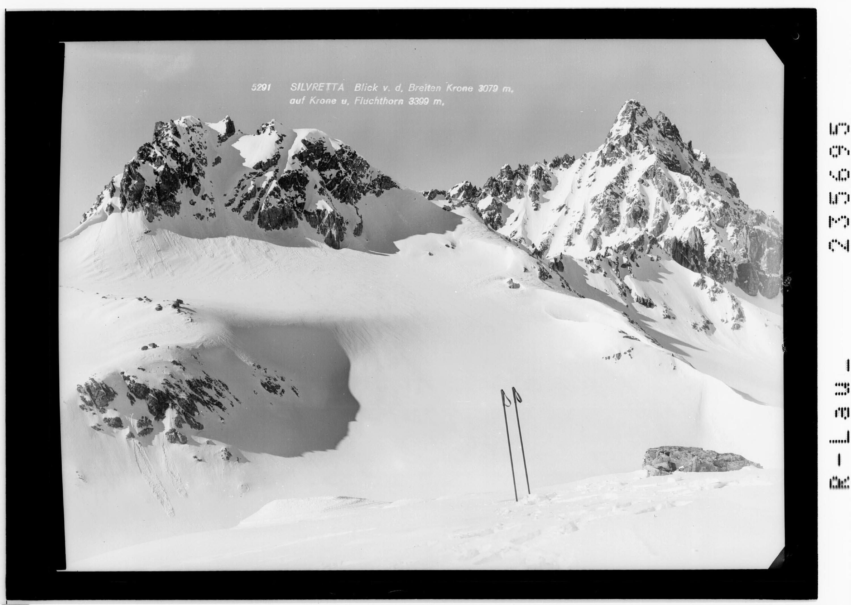 Silvretta / Blick von der Breiten Krone 3079 m auf Krone und Fluchthorn 3399 m von Rhomberg