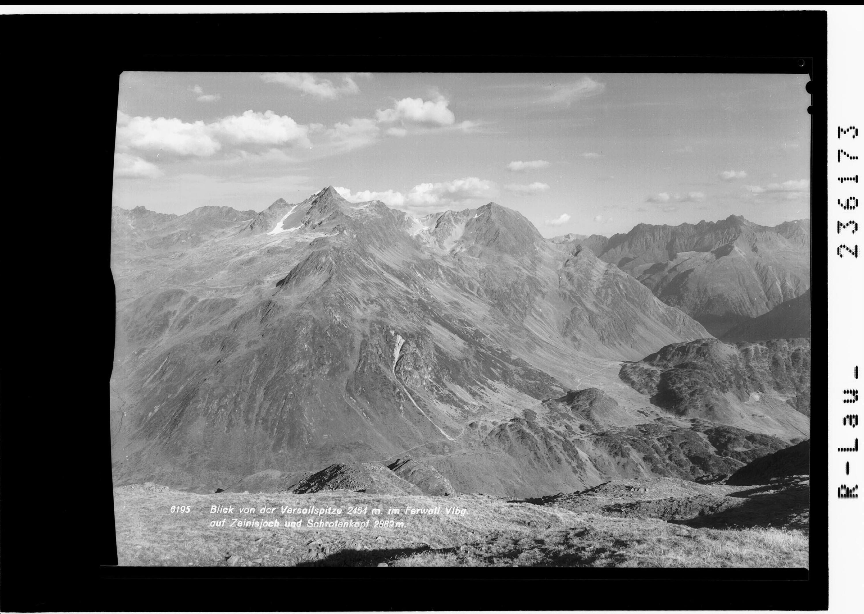 Blick von der Versailspitze 2464 m im Ferwall / Vorarlberg / auf Zeinisjoch und Schrottenkopf 2889 m von Rhomberg