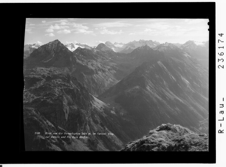 Blick von der Versailspitze 2464 m im Ferwall / Vorarlberg / auf Vallüla und Piz Buin 3312 m von Rhomberg
