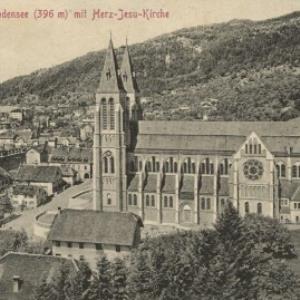 Bregenz am Bodensee (396 m) mit Herz-Jesu-Kirche von Stengel u. Co.