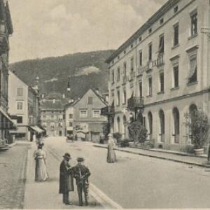 Bregenz am Bodensee (396 m) - Römerstraße und Hotel weißes Kreuz von Stengel u. Co.