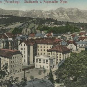 Feldkirch, 457 m (Vorarlberg) - Stadtpartie u. Appenzeller Alpen von Stengel u. Co.
